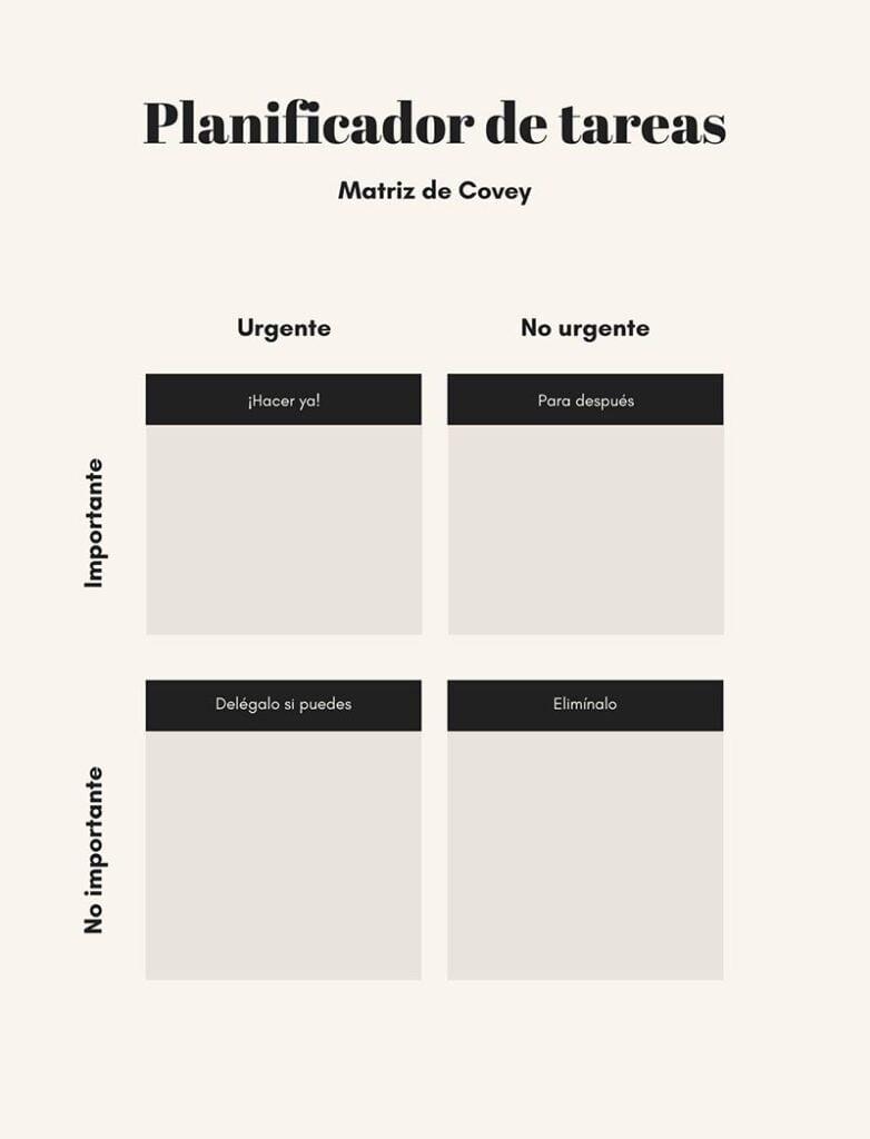 Matriz de Covey Planificador de tareas Axolot